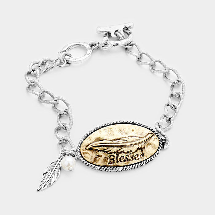 "7"" silver leaf charm quote bangle bracelet boho blessed"