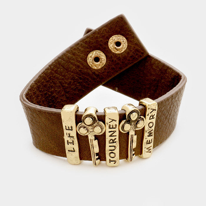 "7"" gold key life journey memory message faux leather bracelet 1"" wide"