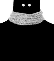 "15""  metal yarn choker layered multi strand bib collar Necklace earrings"