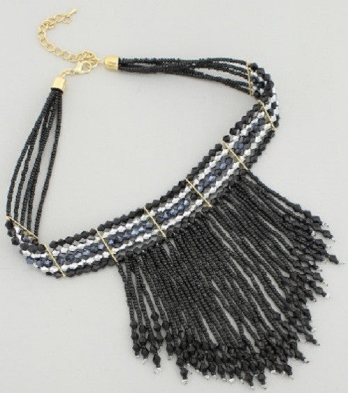 "12"" crystal fringe bead boho collar choker necklace earrings"