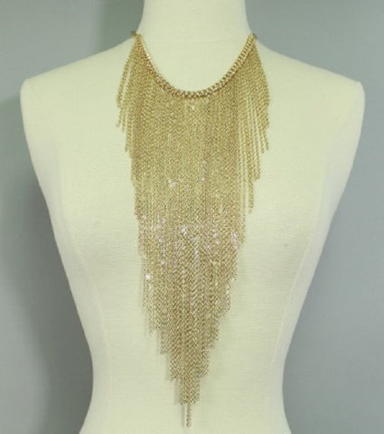 "16"" gold long fringe tassel body chain collar choker necklace"