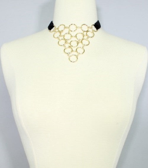 "16"" black velvet choker link bib necklace"
