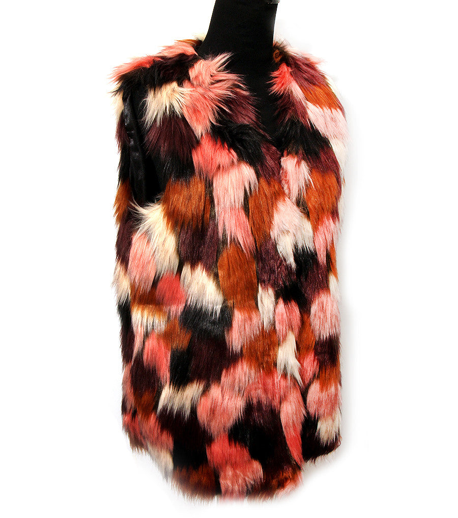 long faux fur multi color vest one size