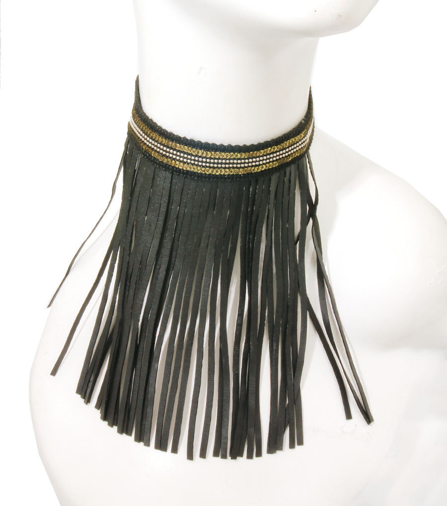 "16"" black faux leather gold beads tassel fringe bib collar Necklace"