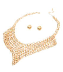 "15"" chain link bib collar choker necklace statement earrings"