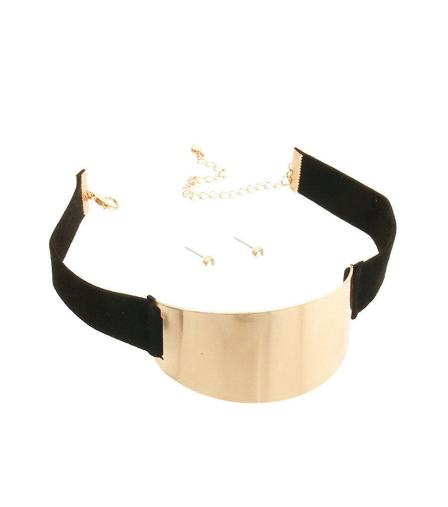 "15"" gold curved faux suede choker collar necklace earrings"