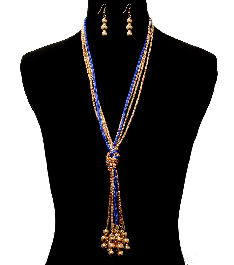 "20"" blue gold faux pearl tassel fringe bib necklace 1.75"" earrings"