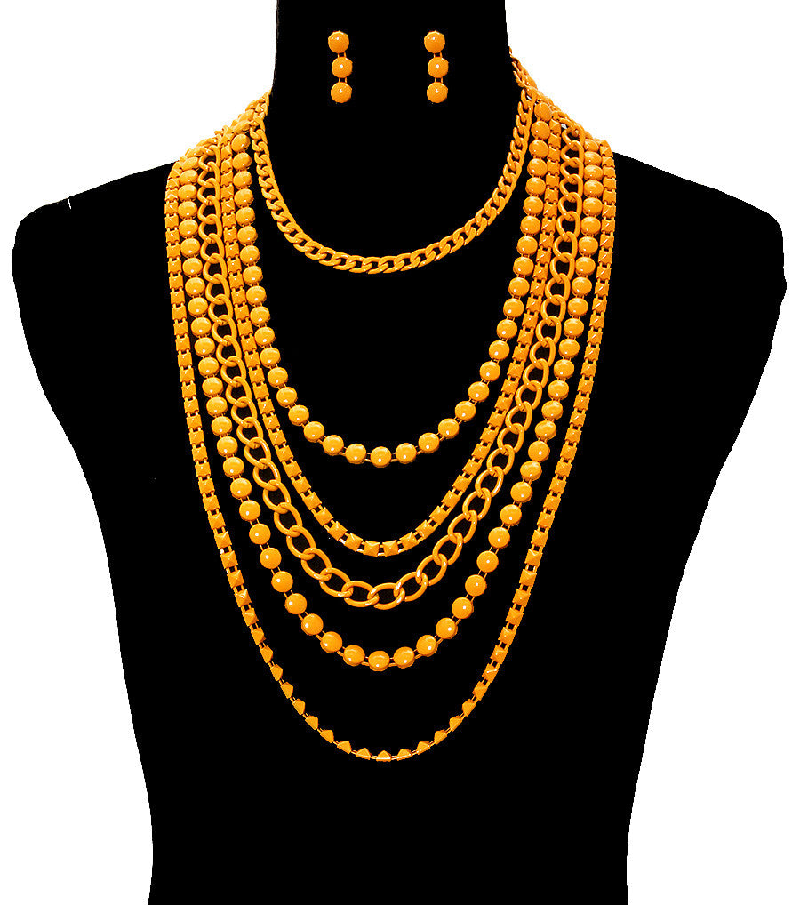 "19"" bead chain multi tiered body chain choker bib collar Necklace earrings"