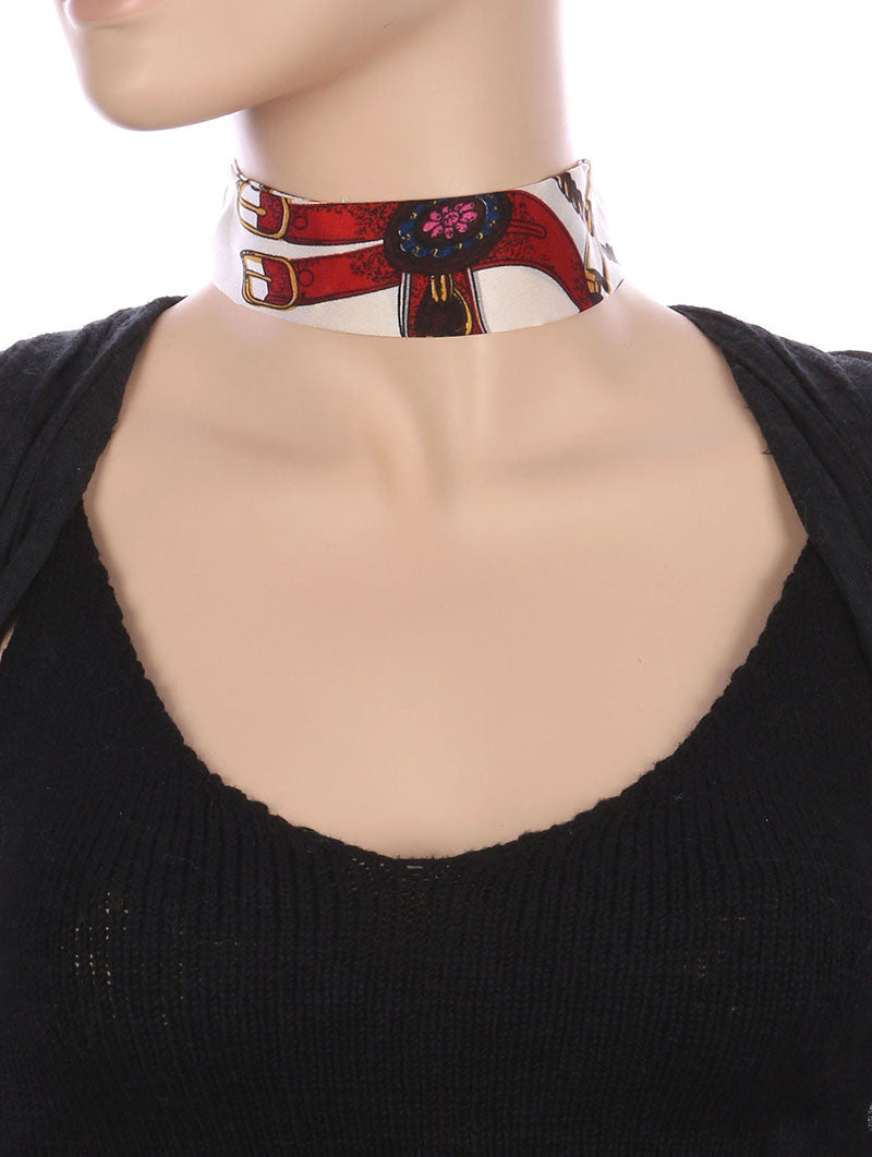 "12"" red scarf choker collar necklace 1.50"" wide"
