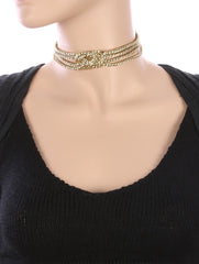 "12"" multi strand layered braided metallic rope choker collar necklace"