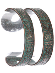 "7.50"" silver tribal etched double cuff bangle bracelet 1.45"" wide"