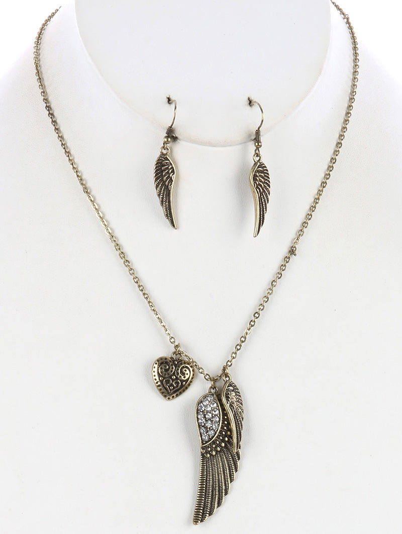 "12"" crystal wing heart charm necklace 1.10"" earrings"