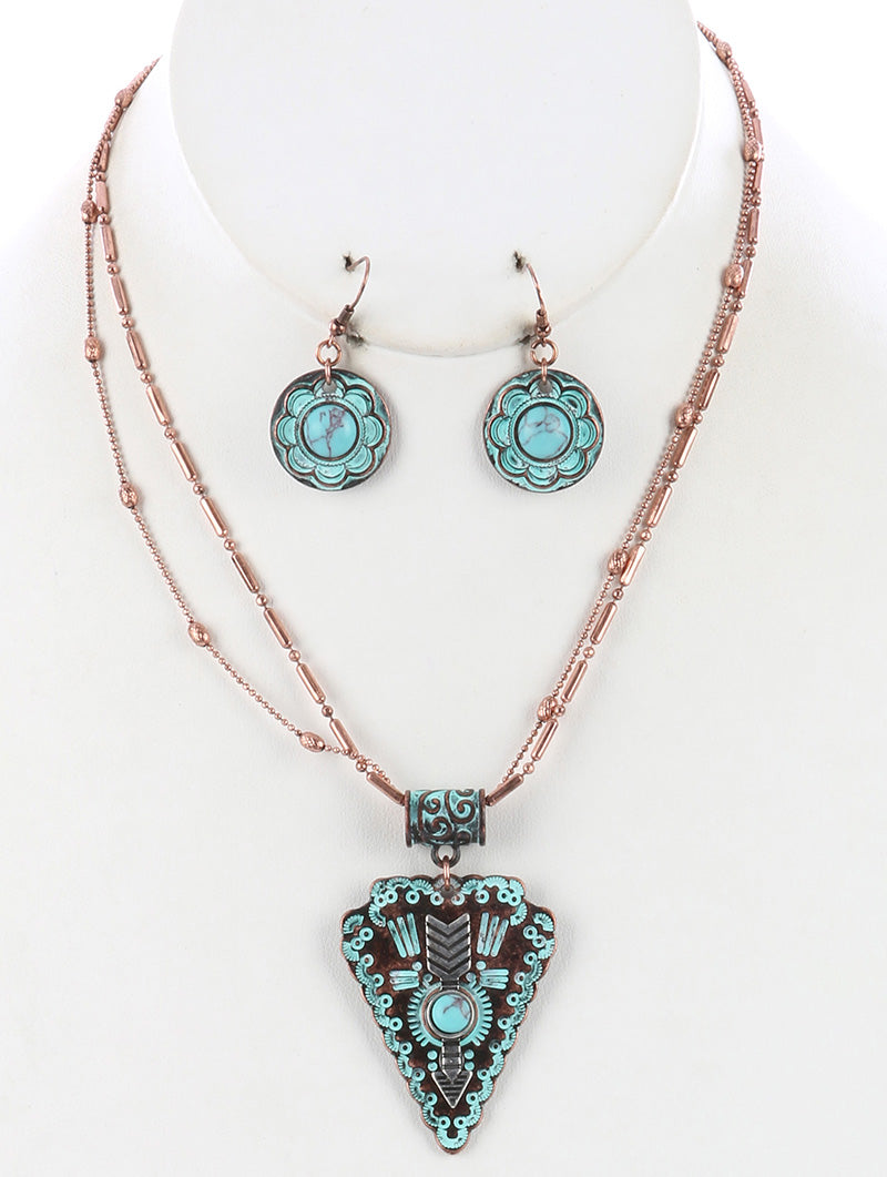 "18"" patina 1.85"" arrowhead boho double layered pendant necklace .75"" earrings"