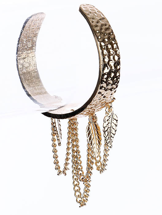 "6.25"" gold dangle leaf chain hammered bracelet bangle cuff"