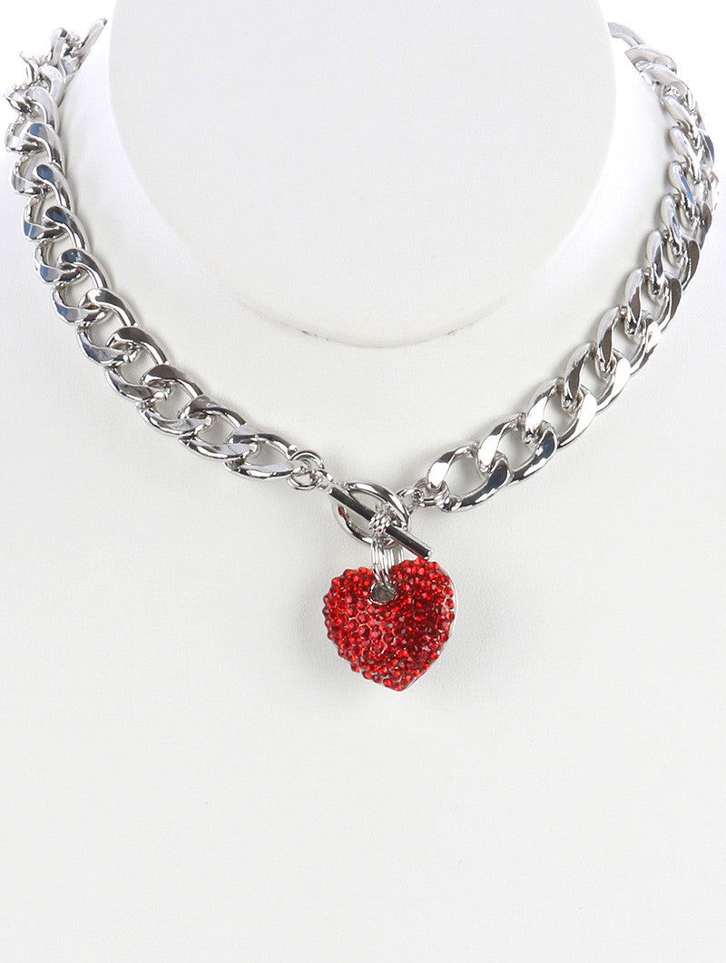 "16"" silver red crystal heart pendant necklace"
