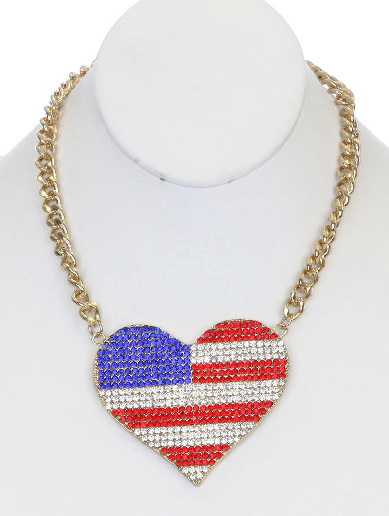"18"" crystal pave big 3.25"" x 2.25""  heart american flag necklace"