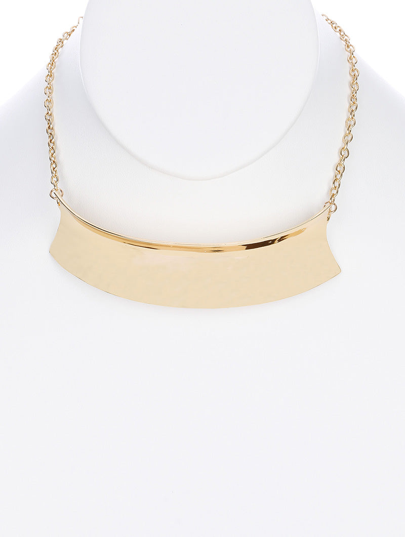 "12"" gold curved 1.15"" wide plate choker collar necklace"