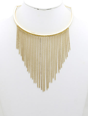 "10"" gold tassel fringe arched choker collar necklace"