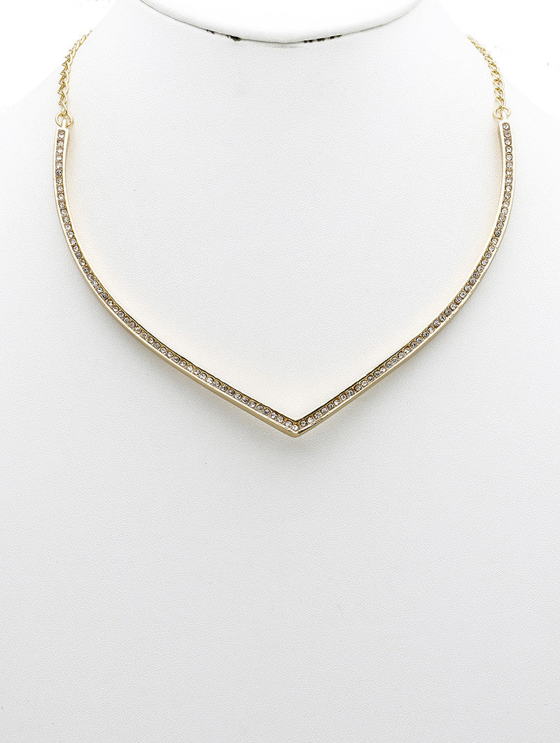 "20"" gold crystal pave V shape choker necklace collar"