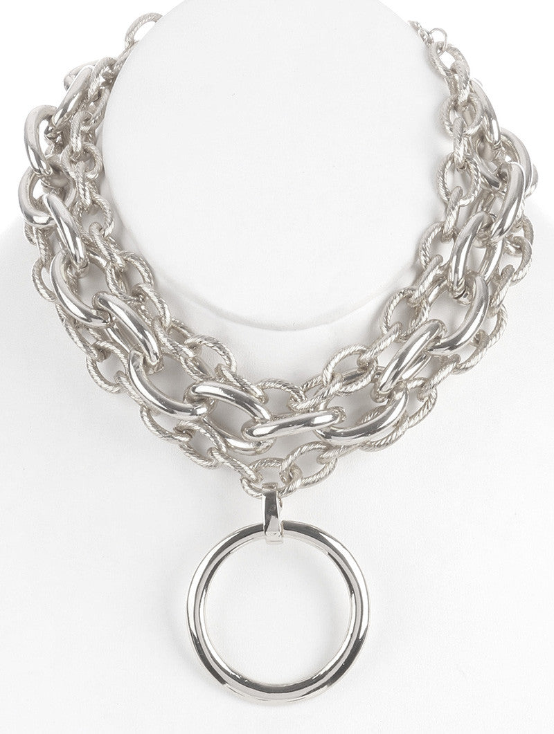 "10"" layered 3 row multi chain choker ring pendant chunky necklace"