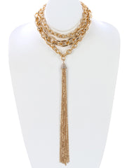 "12"" crystal 3 row chain 12"" tassel fringe choker chunky necklace"