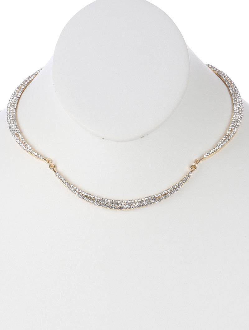 "12"" gold clear crystal pave choker collar necklace"