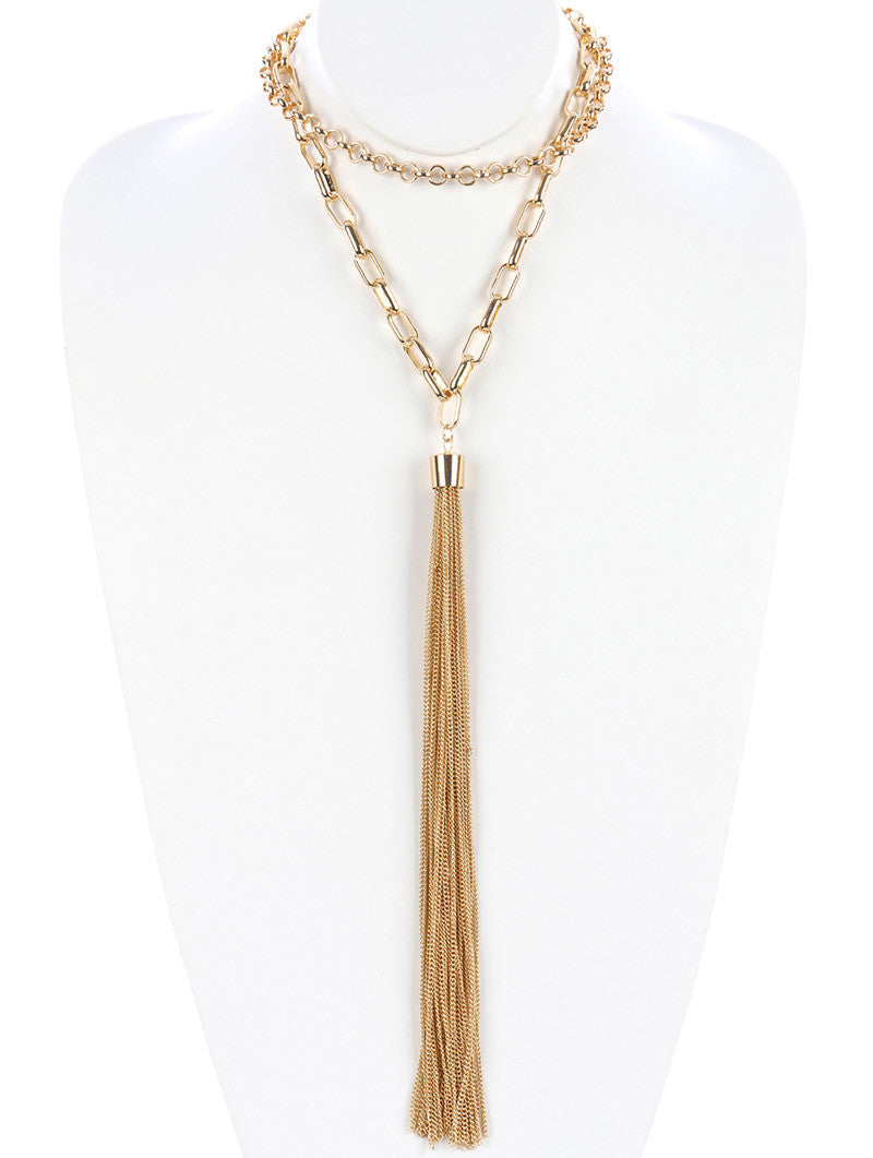 "14"" gold chain multi layered 13"" tassel  choker necklace"