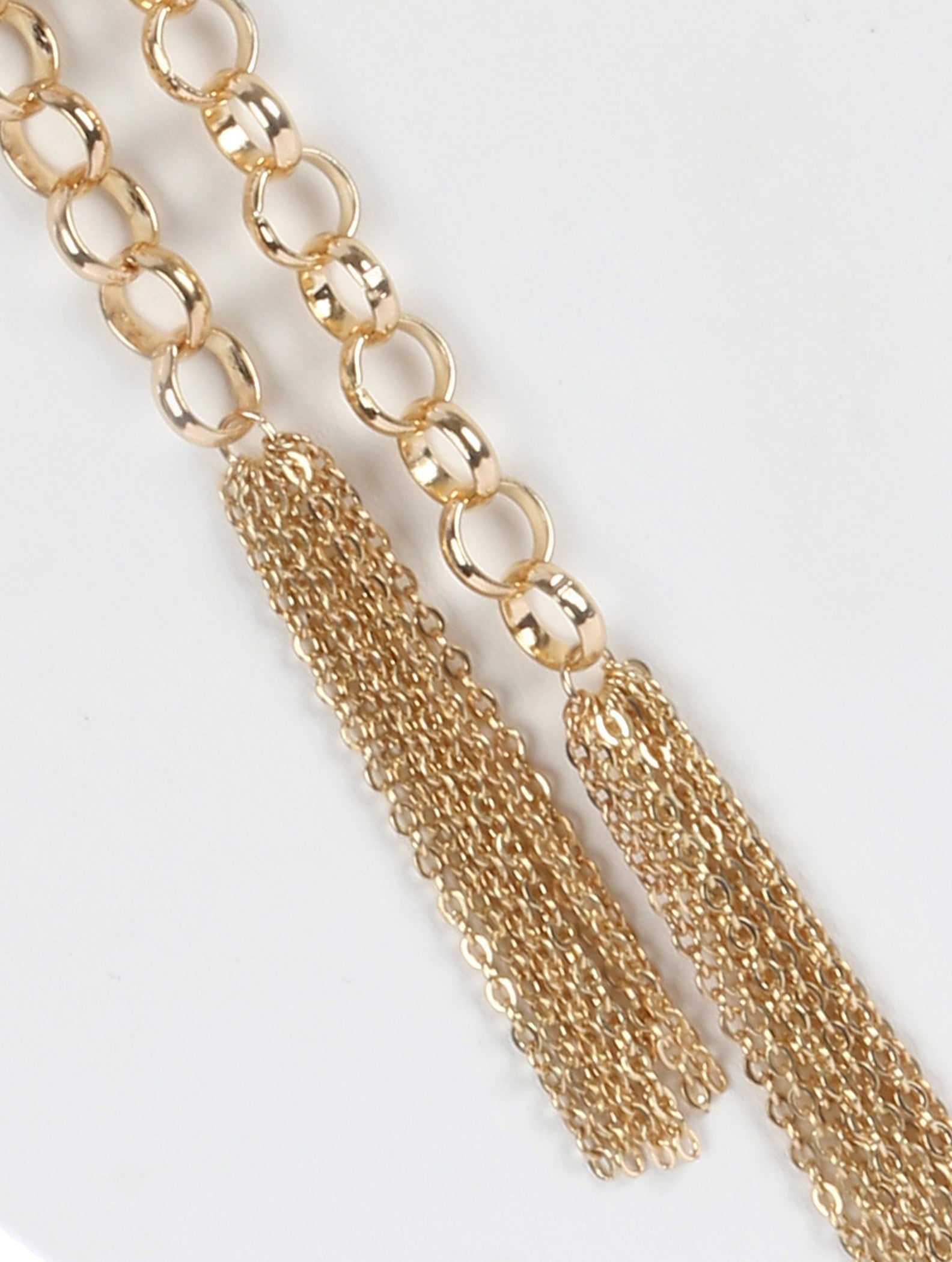 "42"" rolo chain 3.50"" fringe double tassel necklace"