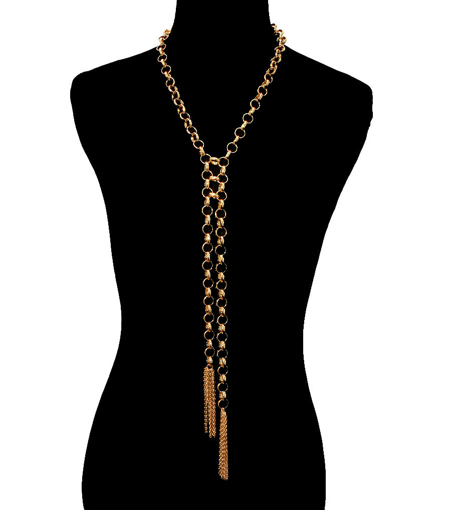 "20"" gold chunky chain link 3.50"" double tassel fringe choker necklace"