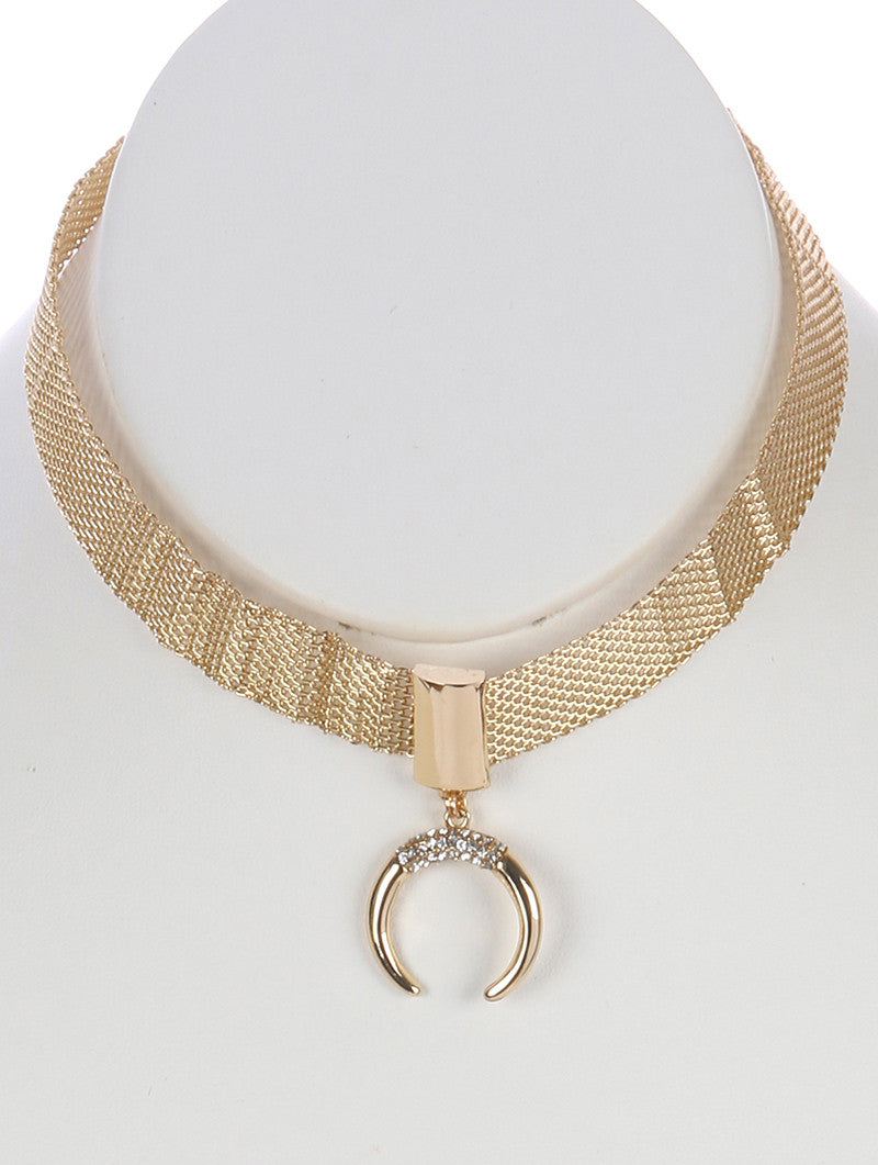 "12.50"" gold crystal horn mesh collar choker necklace"
