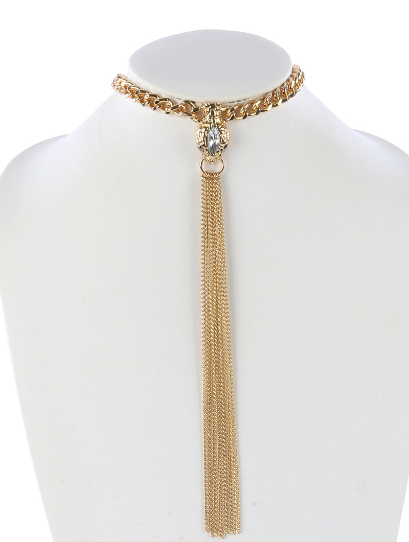 "12"" gold crystal snake head chain 9"" fringe choker collar necklace"