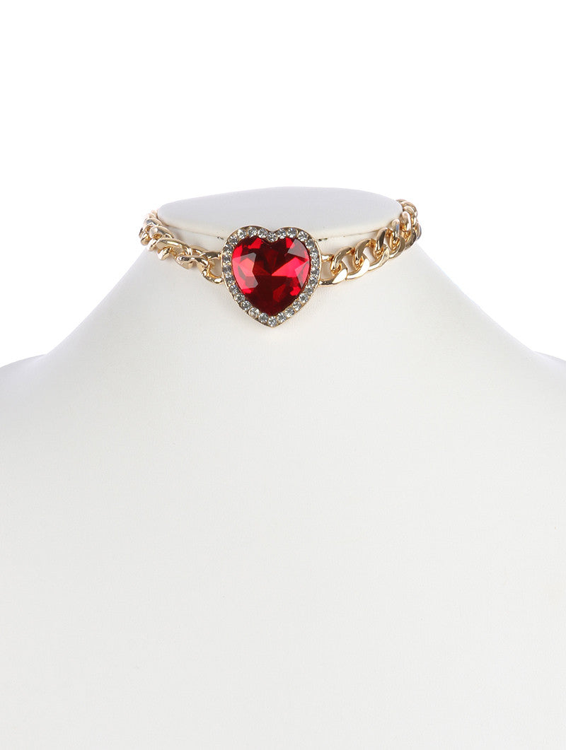 "12"" crystal heart curb chain pendant necklace"