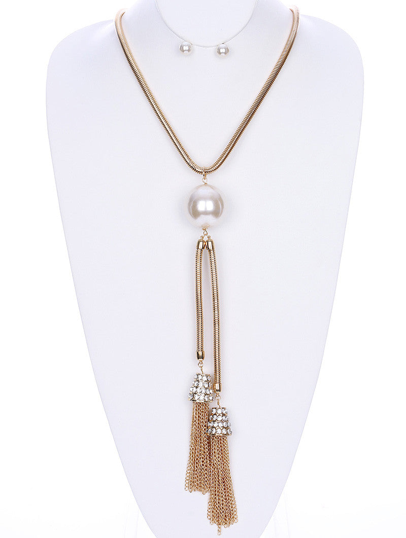 "23"" gold clear crystal 1.50"" large pearl fringe tassel Necklace .30"" earrings 11.50"" drop"