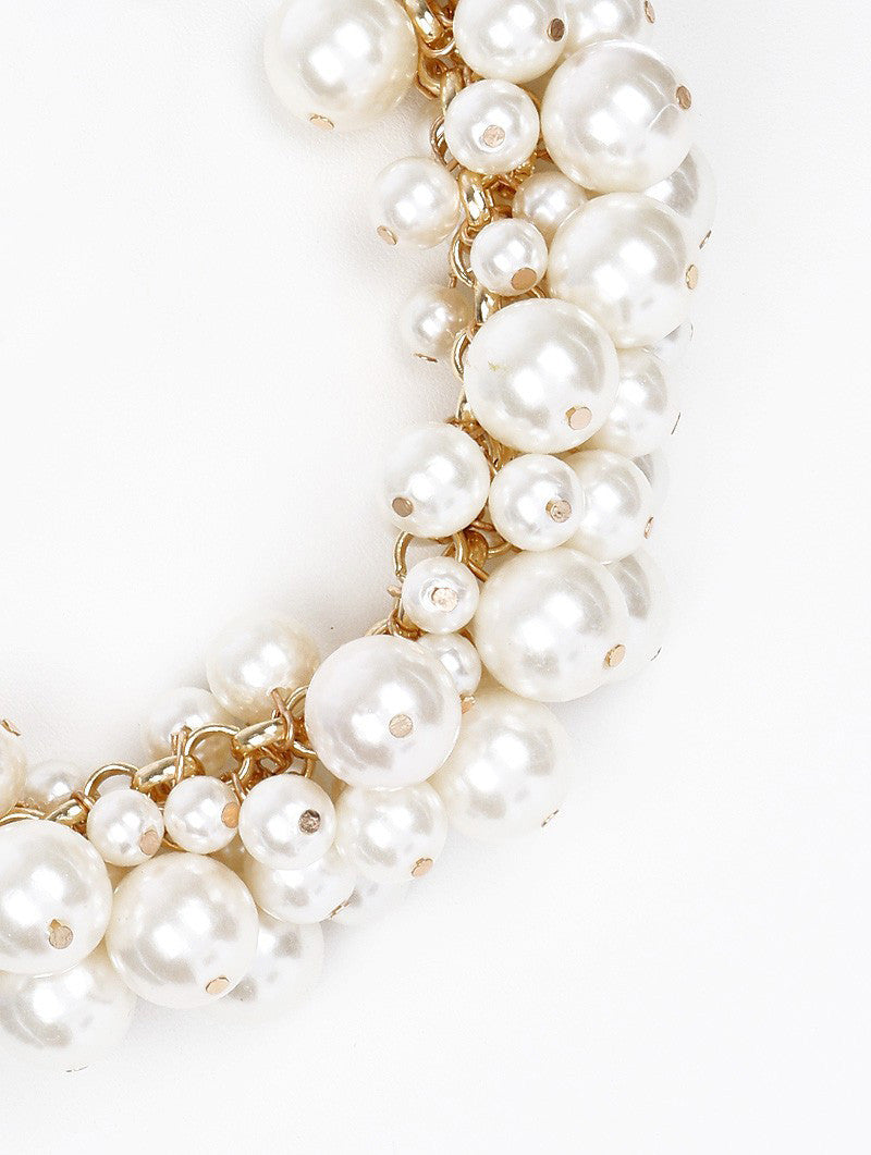 "14"" cream faux pearl cluster chunky choker necklace .45"" earrings"