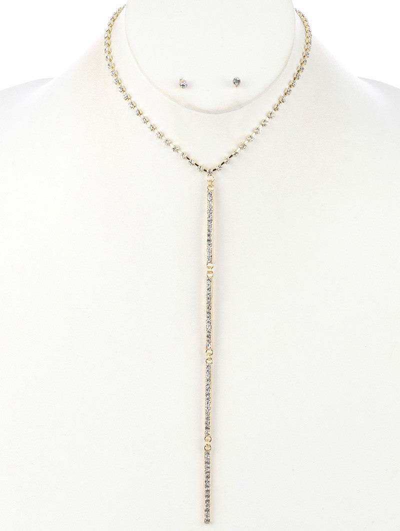 "16"" gold crystal Y bar necklace .10"" earrings 7.50"" drop"