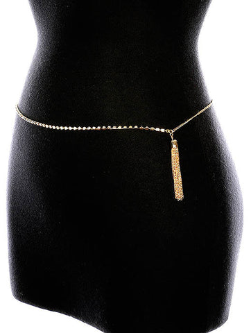 "31"" waist gold crystal chain tassel fringe belt"