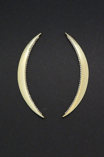 "3.50"" crystal gold curved earrings pierced"