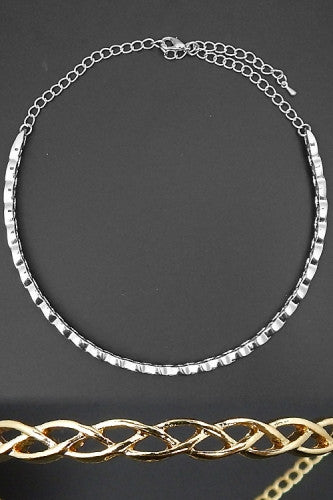 "16"" silver braided half cuff choker collar necklace .20"" wide"