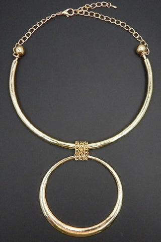 "10"" gold 2.75"" ring circle choker collar bib necklace"
