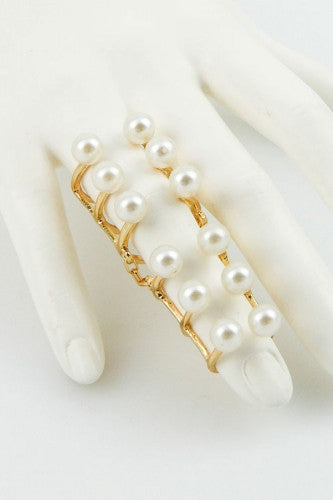 "2.25"" gold pearl finger knuckle ring"