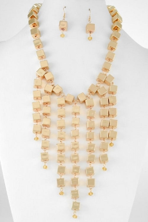 "17"" gold cube bib collar choker necklace earrings statement"