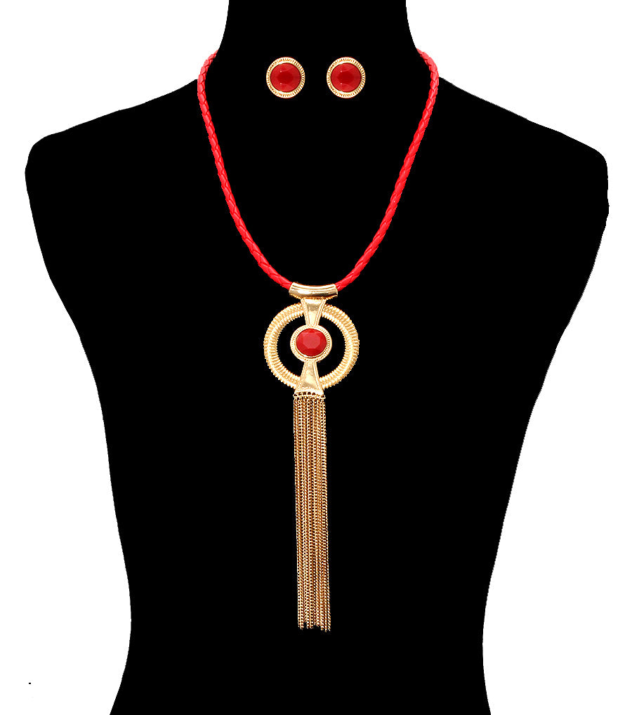 "20"" red gold 5"" tassel fringe faux leather cord braided necklace .75"" earrings"