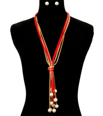 "20"" red gold faux pearl 5"" tassel fringe bib knot necklace .40"" earrings"