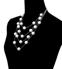 "19"" floating layered multi chain choker bib collar necklace earrings"