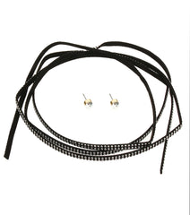 adjustable faux suede crystal wrap tie collar choker bib necklace earrings boho