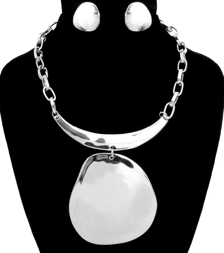 "18"" silver pendant choker collar bib necklace 1"" post earrings"