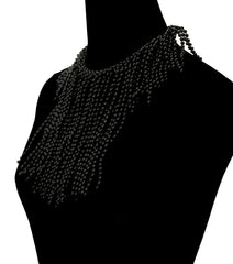 "15"" black chunky choker layered multi strand bib collar Necklace earrings"