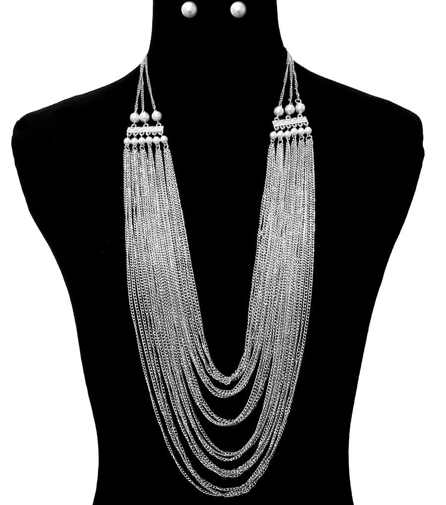 "30"" faux pearl multi layer tiered body chain choker bib collar Necklace 2"" earrings"