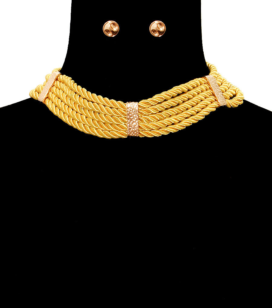 "15"" cord rope braided collar choker necklace statement earrings"