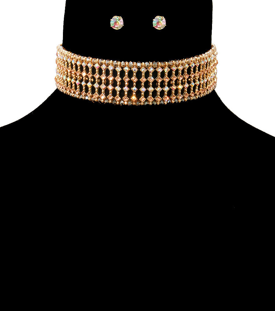 "15"" crystal collar choker bib necklace earrings bridal pageant prom"